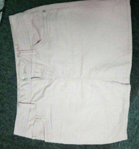 Короткая розовая джинс юбка 46-48р