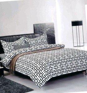 Комплект белья черно-белый, в евро размере