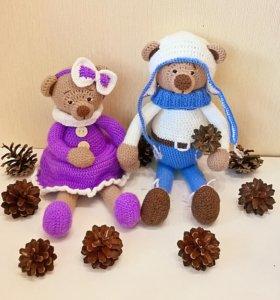 Игрушки ручной работы-мишки Фиалка и Филя