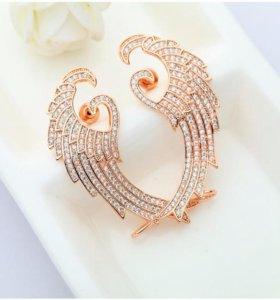 Серьги каффы крылья золотые, серебряные из циркона