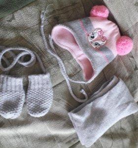 шапочка, снуд и рукавички 40-44