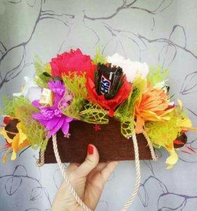 Цветочно-конфетные букеты к 8 марта!