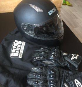 Шлем мотоциклетный+перчатки