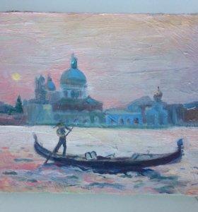 Венеция картина масло холст 17,5х24,5см