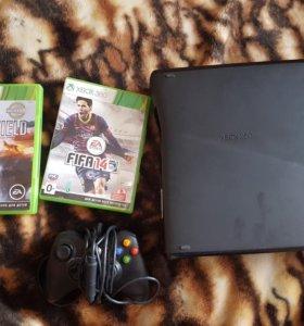 Xbox 360 250gb slim + две игры