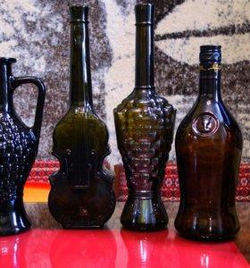 Декоративные бутылки  и бутылочки - цветное стекло