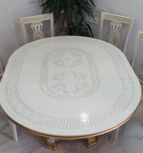 Обеден.группа круглый стол+4стула+силикон покрытие