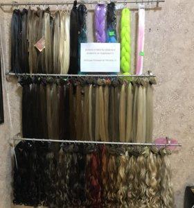 Волосы на заколках пряди хвосты термо искусственны