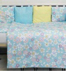 Бортики + комплект постельного в детскую кроватку