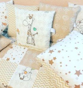 Бортики в кроватку, одеяло с плюшем