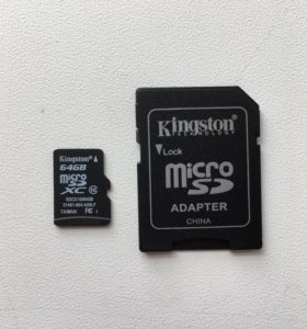 Карта памяти MicroSD 64 Гбит, 10 класс с адаптером