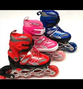 роликовые коньки синий,красный.розовый