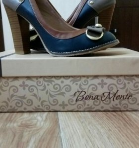 Туфли синие с коричневыми вставками