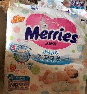 Подгузники Merries newborn, до 5кг, 90 шт
