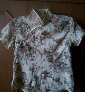 Блузка-лён...цветочный принт...