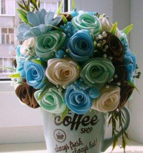 Чашечка с цветами (топиарии, подарки)