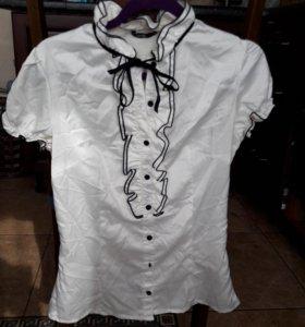 Белая блузка рубашка с бантом