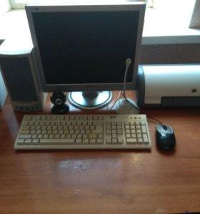 Компьютер, колонки,принтер, микрофон, камера