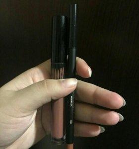Новый набор матовая помада и карандаш