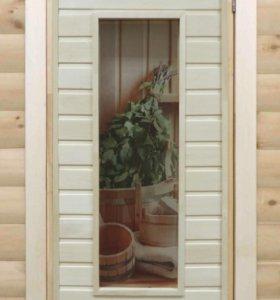 Двери банные с остеклением с цветным рисунком