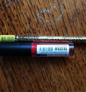 Блеск для губ красный с карандашом красным,матовый