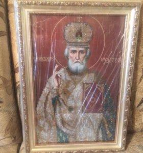 Алмазная вышивка. Икона Николая угодника.