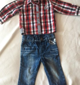 Рубашка и джинсы 80 р