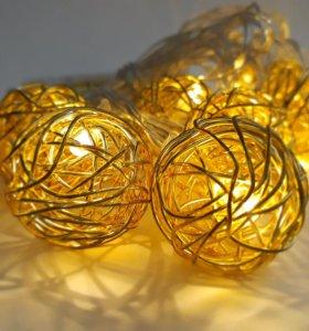 "Гирлянда светодиодн на батарейках ""золотые шарики"""