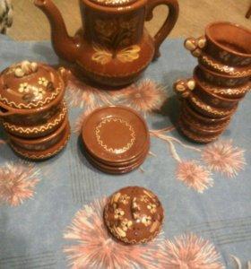 Чайный глиняный сервиз на 5 персон времен ссср