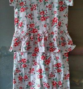 Платье, с баской ,хлопок на рост 158/164