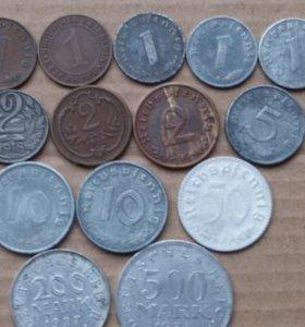 Монеты Германии 1912 - 1943 г.г. 14 шт.