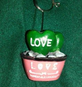 Кактусик, держатель для стикера, love, сердце