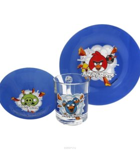 Набор посуды Энгри Бердз синий 3 пред. стекло