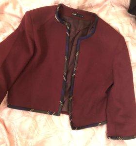 Бордовый укорочённый пиджак