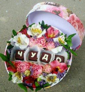 Цветы в коробке с доставкой