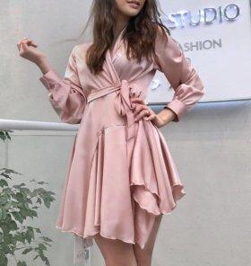 Платье мини пастельно-розовое🌸