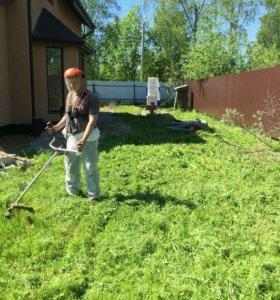 Покос травы. Стрижка газона. Вспашка под газон.