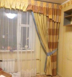 Портьеры с ламбрекеном и подвязками+ покрывало