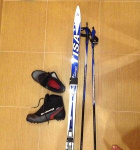 Лыжи беговые+палки+ботинки