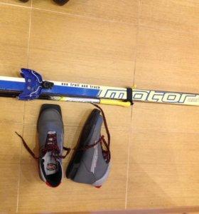 Лыжи беговые, палки и ботинки
