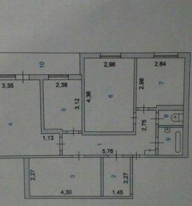 Квартира, 4 комнаты, 72.4 м²