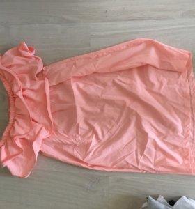 Летнее розовое платье с воланами