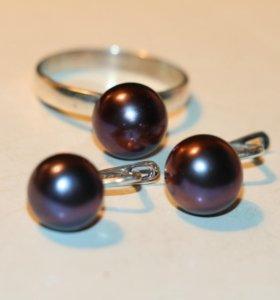 Кольцо и серьги с чёрным жемчугом серебро 925%