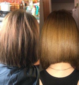 Кератиновое выпрямление, биксипластия волос