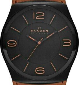 Часы Skagen итальянская кожа (обмен) скидка 40%