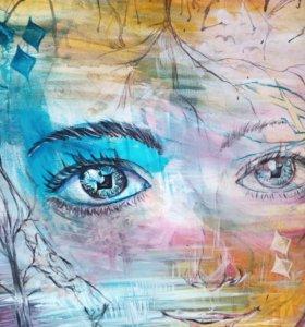 Картина акрил в стиле современная абстракция