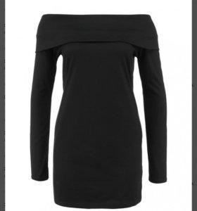 Туника чёрная джемпер с открытыми плечами