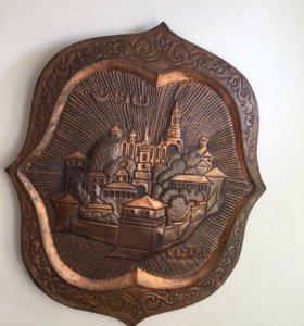 Картина металлическая старая Казань