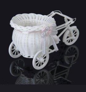 Горшок велосипед для декора