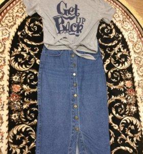 Джинсовая юбка и футболка кастюм